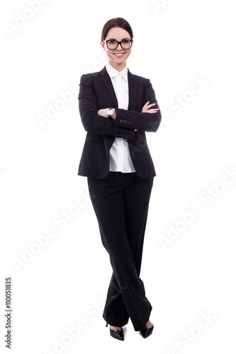 Fotografie, Obraz  full length portrait of young beautiful business woman isolated
