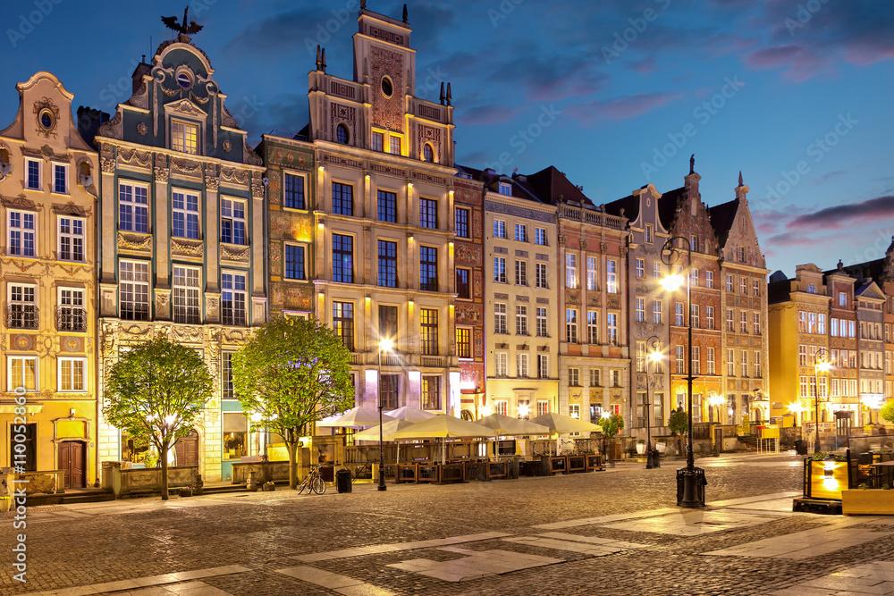 Fototapety, obrazy: Stare Miasto nocą w Gdańsku