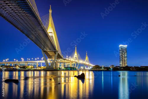 Photo  Bhumibol Bridge in Bangkok Thailand, also known as the Industrial Ring Road Bridge