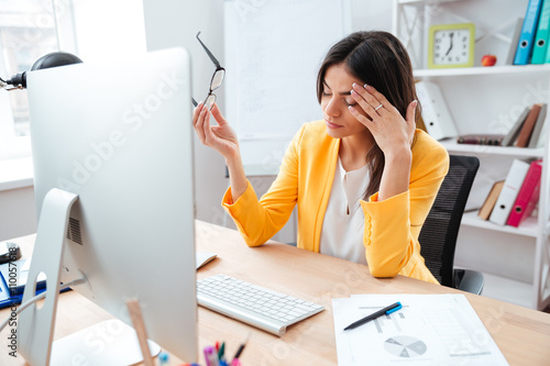 Fotografie, Obraz  Businesswoman having head pain