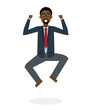 Businessman jumping in the air on white background. Concept of victory, business success and celebrating. Isolated happy african american businessman is excited.