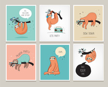 Cute Hand Drawn Sloths Illustrations, Funny Cards