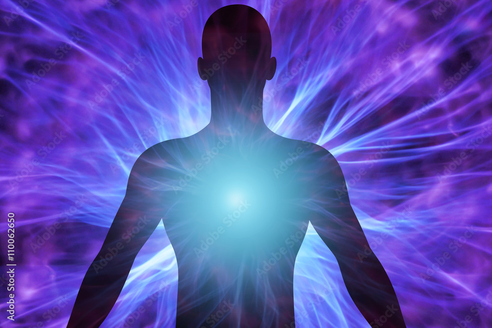 Fotografia Cuerpo humano con rayos de energía