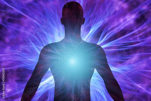 Cuerpo humano con rayos de energía Fototapeta