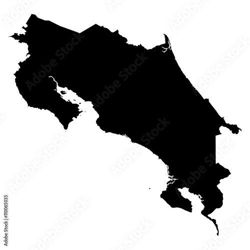 Photo Costa Rica black map on white background vector