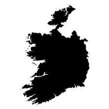 Ireland Black Map On White Bac...
