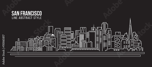 Photo Cityscape Building Line art Vector Illustration design - san francisco city
