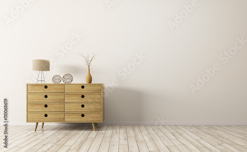 Cuadros en Lienzo Interior with wooden cabinet 3d rendering