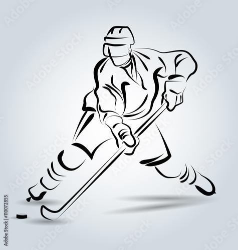Vector line sketch hockey player - 110072855