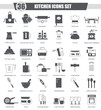 Vector Kitchen black icon set. Dark grey classic icon design for web.