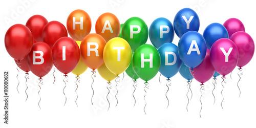 Obraz na plátne  Colorful happy birthday balloons