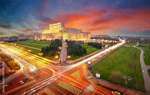 Fényképezés Bucharest Aerial View