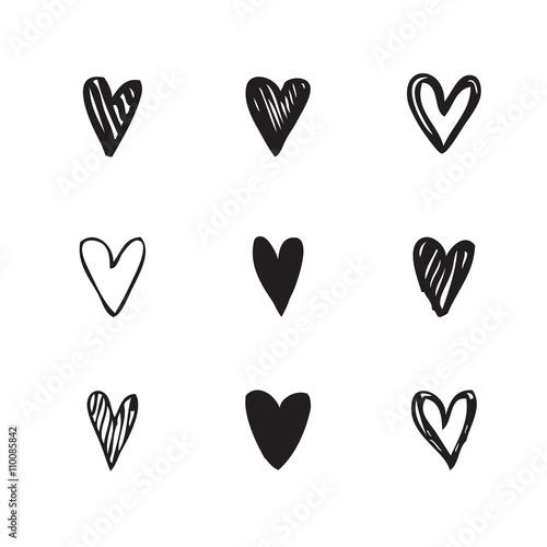 Hearts - Freehand drawings Fototapete