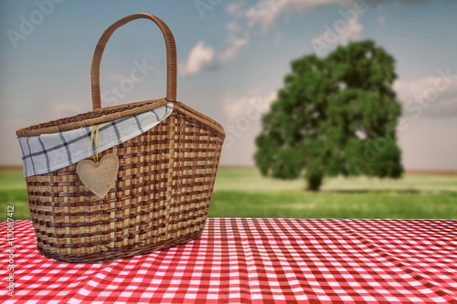 Aluminium Prints Picnic Picnic Basket On The Red Checkered Tablecloth And Summer Landsca