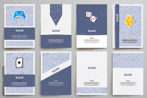 Photo  Corporate identity vector templates set with doodles gaming theme