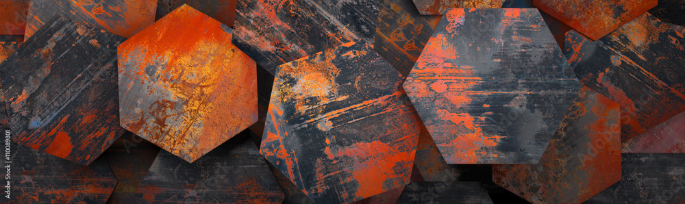 Fototapeta Rusty Metal Hexagon Tiles Background (Website Head) - 3D Rendering