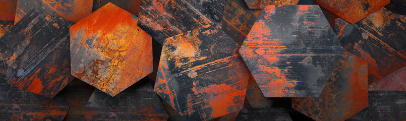 Rusty Metal Hexagon Tiles B...