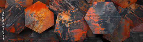 Rusty Metal Hexagon Tiles Background (Website Head) - 3D Rendering