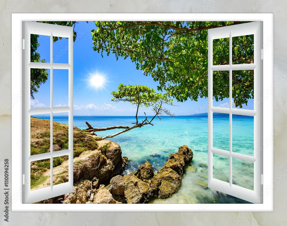 Obraz open window view of the sea good weather summer fototapeta, plakat