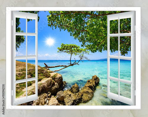 Obraz open window view of the sea good weather summer - fototapety do salonu