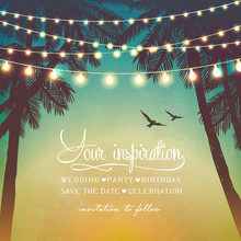 Decorative Holiday Lights. Inspiration Card.  Background In Beach Style.