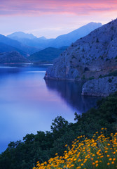 Fototapeta Rzeki i Jeziora mountains lake in summer morning time