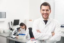 Successful Male Researcher Is Expressing Positive Emotions