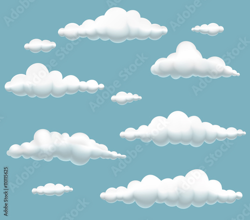 vector illustration of collection cartoon clouds in the sky
