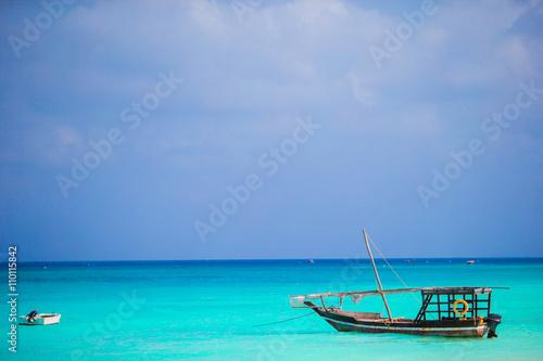 Printed kitchen splashbacks Zanzibar Old wooden dhow at the sea in the Indian Ocean