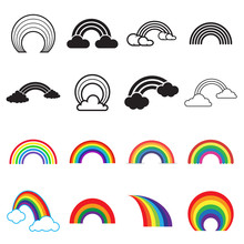 Rainbow Icons. Black And Color...