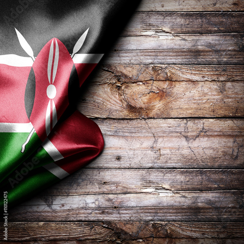 Flag of Kenya on wooden boards Wall mural
