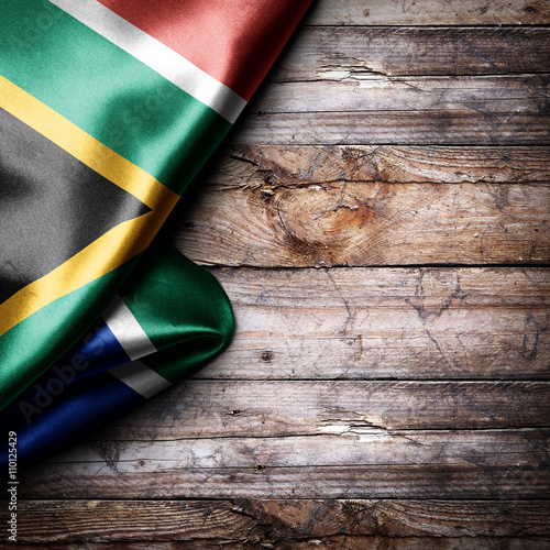 canvas print motiv - Zerophoto : Flag of South Africa on wooden boards