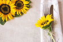 Yellow Sunflowers Table Setting Copy Space Background, Selective