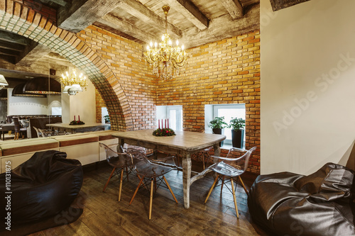 Modern Loft Cafe With Brick Wall Interior Design Vintage Luxury Style Decor Buy This Stock Photo And Explore Similar Images At Adobe Stock Adobe Stock
