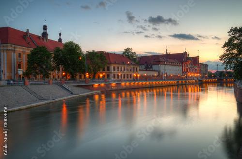 Wrocław wieczorny krajobraz miasta