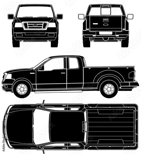 Drawing Ford F-150 on a white background. Wallpaper Mural
