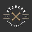 Vintage mechanic label, emblem and logo. Vector illustration