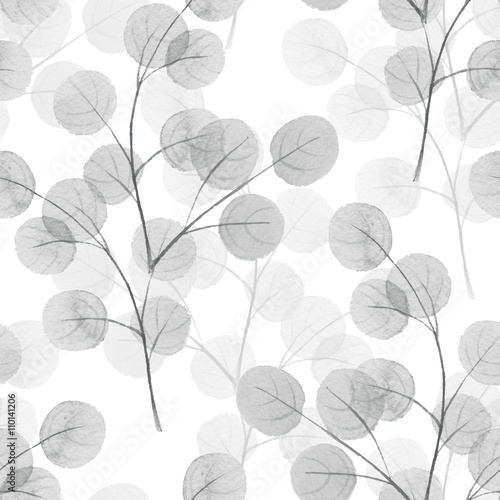 Motiv-Klemmrollo - Branches with round leaves. Watercolor background. Seamless pattern 11 (von Gribanessa)