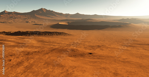 Fotobehang Baksteen Dust storm on Mars. Sunset on Mars. Martian landscape with craters