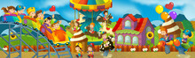 Cartoon Scene Of Kids Playing In The Funfair - Matching Game - Illustration For Children