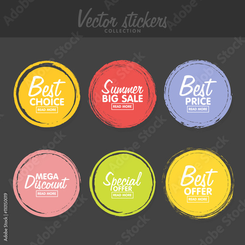 Vector set of vintage colorful  labels for greetings and promotion. Fototapete