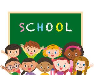 Fototapeta学校と子供達