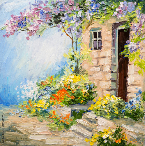 Fototapety, obrazy: oil painting landscape - garden near the house, colorful flowers, summer forest