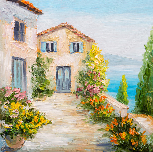 Fototapety, obrazy: oil painting - house near the sea, colorful flowers, summer seascape
