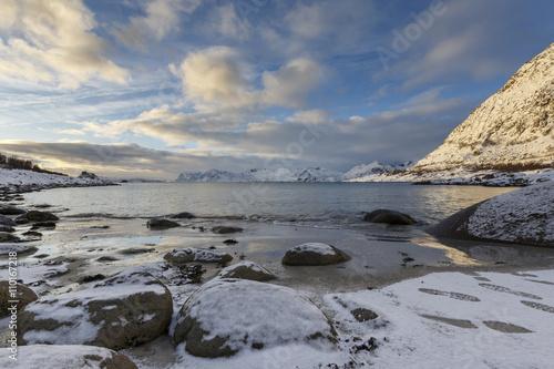 Printed kitchen splashbacks Lake Rorvik-beach near Henningsvaer on Lofoten Islands, Nordland, Norway