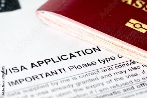 europe union visa application form with passport Tablou Canvas