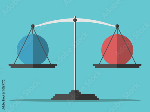 Balance weighing two spheres Wallpaper Mural
