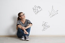 Young Thoughtful Woman Dreaming About Her Future, Planning Successful Career, Big Family And New Housing.