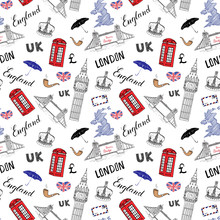 London City Doodles Elements Seamless Pattern. With Hand Drawn Tower Bridge, Crown, Big Ben, Red Bus, UK Map, Flag,and Lettering, Vector Illustration Isolated