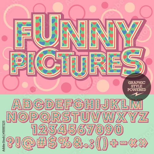 Vector Lovely Heart Alphabet Motley Card With Text Funny Pictures